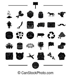 animal, travel, ecology and other web icon in black style....