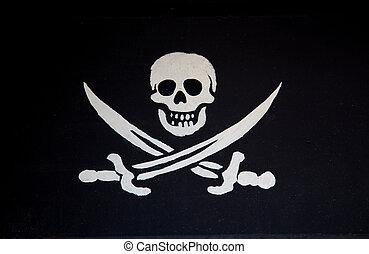 White skull on black background.