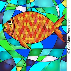 abstract golden fish - background variation vwth abstract...