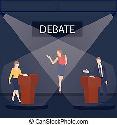 two politician debate on stage podium public speaking contest presentation with moderator between them