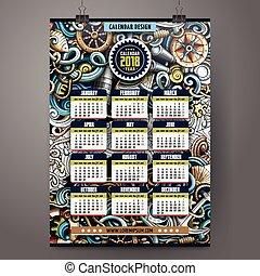 Cartoon doodles Nautical 2018 year calendar template