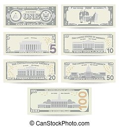 Dollars Banknote Set Vector. Cartoon US Currency. Flip Side...