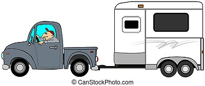 Man driving a truck and towing a horse trailer