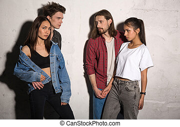 Concentrated young hipsters loving couples - Picture of...