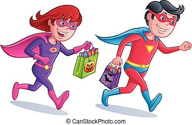 Superhero Trick or Treaters - Cartoon of a girl and boy...