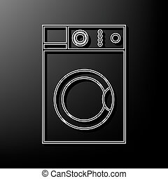 Washing machine sign. Vector. Gray 3d printed icon on black background.