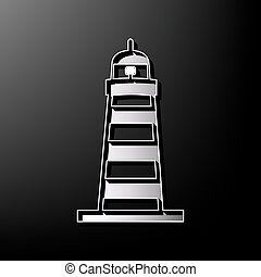 Lighthouse sign illustration. Vector. Gray 3d printed icon on black background.
