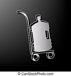 Plastic bottle silhouette with water. Big bottle of water on track. Vector. Gray 3d printed icon on black background.