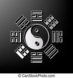 Yin and yang sign with bagua arrangement. Vector. Gray 3d...