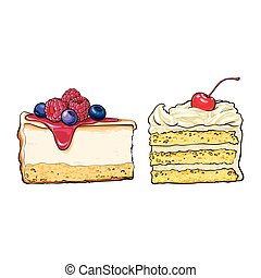 Hand drawn desserts - pieces of cheesecake and layered...