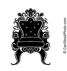 Vintage armchair black silhouette. French Luxury rich carved...