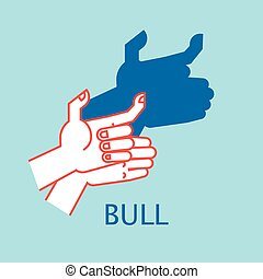 Shadow Theater. Hands gesture like bull. Vector illustration of Shadow Hand Puppet.