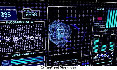 """Word """"Danger"""" flickes on a HUD Futuristic technological..."""