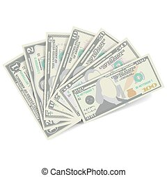 Dollars Banknote Stack Vector. American Money Bill Isolated...
