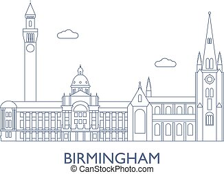 Birmingham. The most famous buildings of the city -...