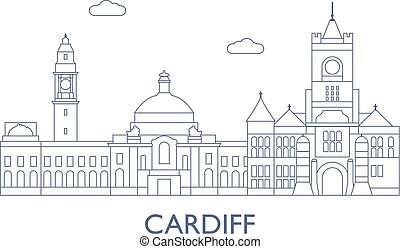 Cardiff. The most famous buildings of the city - Cardiff,...