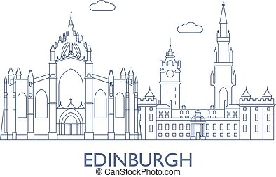 Edinburgh. The most famous buildings of the city -...