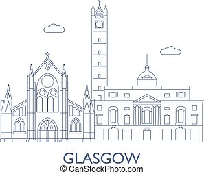 Glasgow. The most famous buildings of the city - Glasgow,...