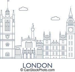 London, The most famous buildings of the city - London,...