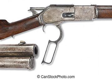 Antique Cowboy Rifle - Antique Cowboy 1876 lever action...