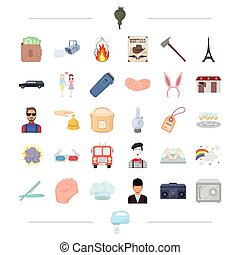 hobbies, business, travel and other web icon in cartoon...