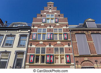 Facade of a historic house in Utrecht, The Netherlands