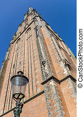 Medieval church tower and lantern in Amersfoort, Netherlands
