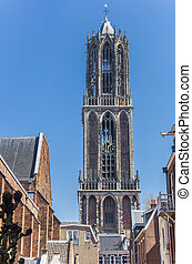 Church tower Domtoren in the historic center of Utrecht,...