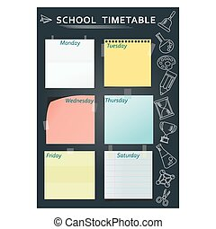 school timetable black - Black template of school week...