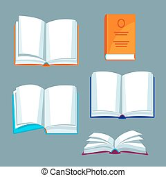 Set of open books. Illustrations for education and school