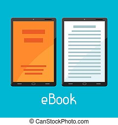 E-book concept. Tablets with book. Digital library online reading