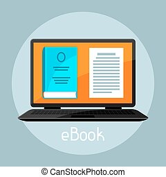 E-book concept. Laptop with book. Digital library online reading