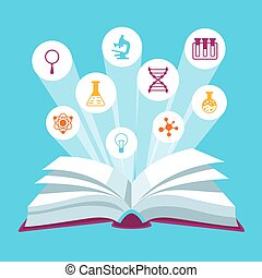 Open book concepr with education icons. Illustration for...
