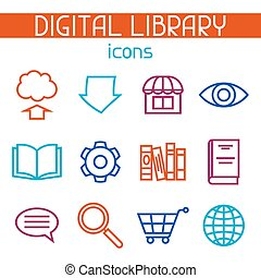 Digital library icon set. E-books, reading and downloading