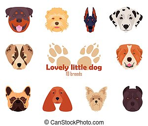 Purebred breeds of dogs, icons. Vector illustration. -...