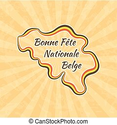 Happy Belgian National Day. Greeting card for 21 July. Retro...