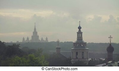 Rain in Moscow. View to church and university - Time lapse....