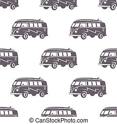 Surfing old style car pattern design. Summer seamless wallpaper with surfer van. Monochrome combi car. Vector illustration. Use for fabric printing, web projects, t-shirts or tee designs.
