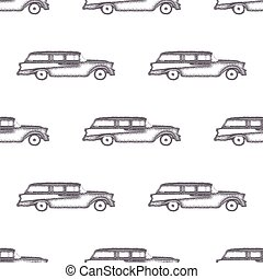 Surfing old style car pattern design. Summer seamless wallpaper with surfer van. Monochrome combi car design. Vector illustration. Use for fabric printing, web projects, t-shirts or tee designs.