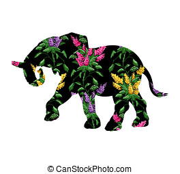 Elephant with color image bouquet of flowers - Silhouette of...