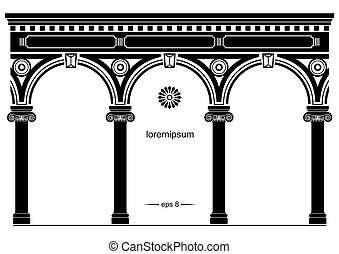 Silhouette of arched classical facade