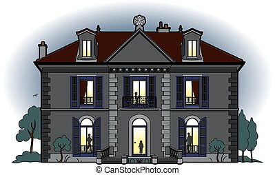 Small castle at the nightfall - Vector illustration of a...