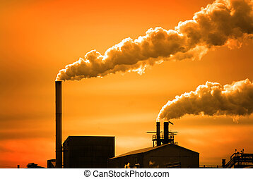 Pollution and Smoke from Chimneys of Factory or Power Plant...