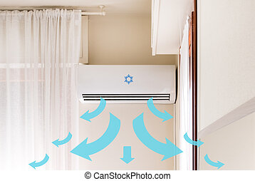 Air conditioner mounted on the room wall for refreshing...