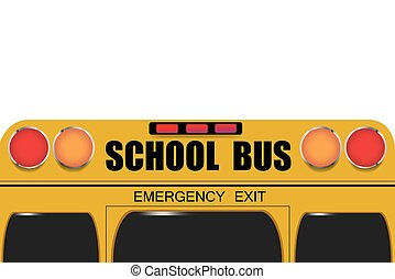 Back of school bus isolated on the white background. Free...