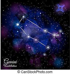 Gemini Constellation With Triangular Background. - True star...