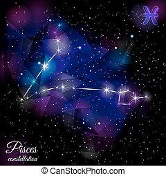 Pisces Constellation With Triangular Background. - True star...