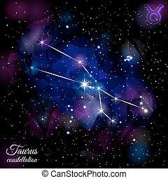 Taurus Constellation With Triangular Background. - True star...