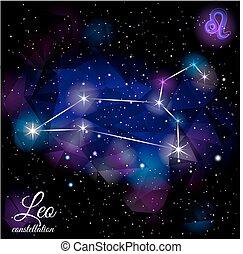 Leo Constellation With Triangular Background. - True star...