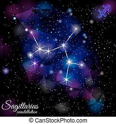 Sagittarius Constellation With Triangular Background. - True...